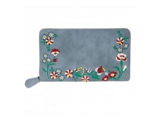 Modrá peněženka Boho flowers - 11*19 cm