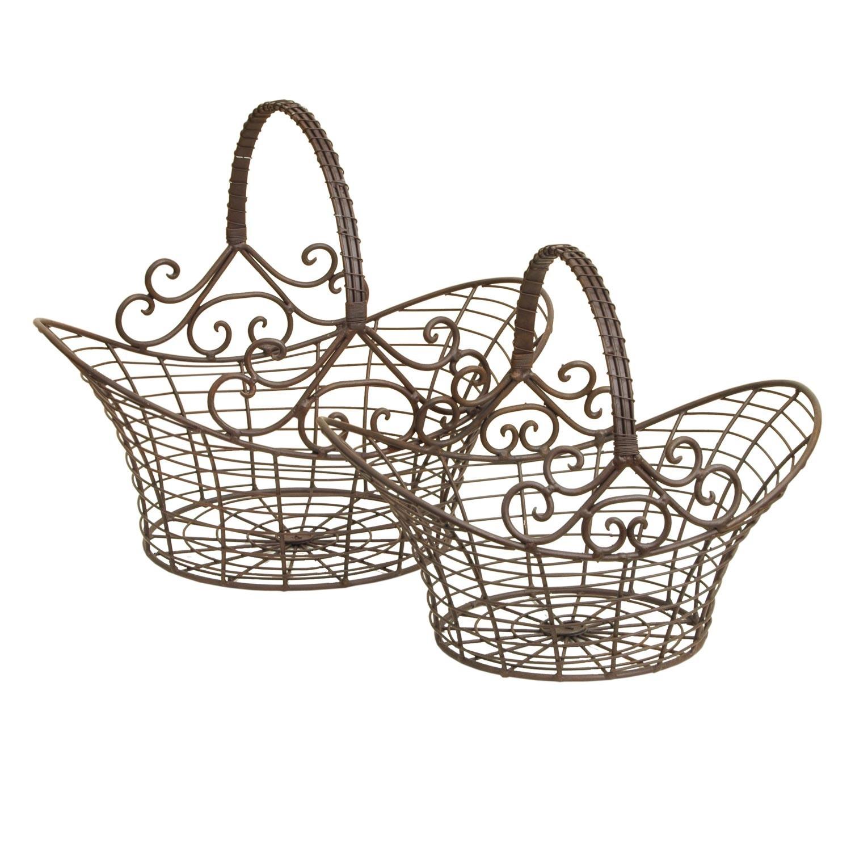 Clayre & Eef Hnědé dekorační kovové koše - set 2 ks - 41*31*35 / 36*24*28 cm