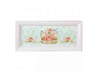 Plastový podnos s květy a ptáčky - 41*18*3 cm