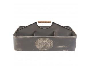 Kovový podnos - přepravka s boxy - 38*22*17 cm