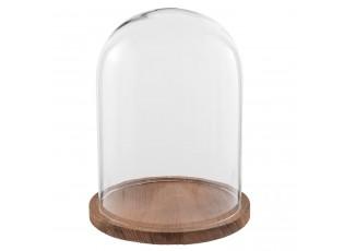 Dřevěný podnos se skleněným krytem - Ø 23*29 cm