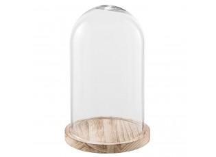 Dřevěný podnos se skleněným krytem - Ø 18*28 cm