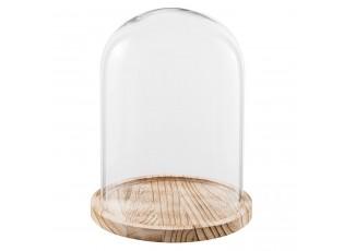 Dřevěný podnos se skleněným krytem II - Ø23*29 cm