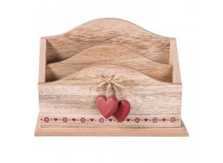 Dřevená stojan na dopisy se srdíčky - 24*9*16 cm