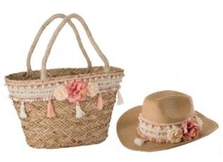 Plážový košík a klobouk - 35 * 35 * 15 cm