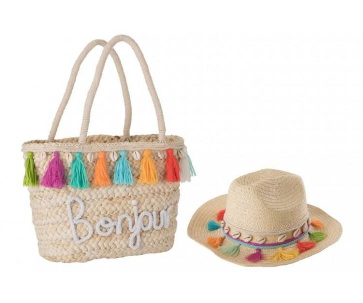 Plážový košík a klobouk Tassel BOHO - 40 * 16 * 48 cm