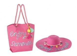 Plážová taška a klobouk summer BOHO - 48* 48 * 10 cm