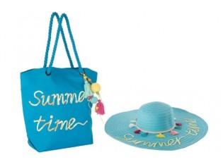 Plážová taška a klobouk summer BOHO blue - 48* 48 * 10 cm