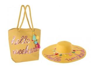Plážová taška a klobouk hello BOHO - 48* 48 * 10 cm