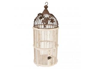 Dřevěná ptačí klec s patinou - Ø 24*54 cm