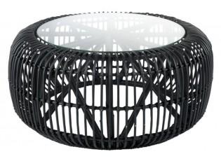 Černý ratanový konferenční stolek Mono Boho - Ø 85 * 40cm
