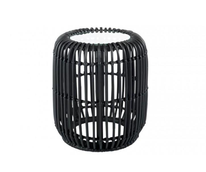 Černý ratanový konferenční stolek Mono Boho - Ø 38 * 41cm
