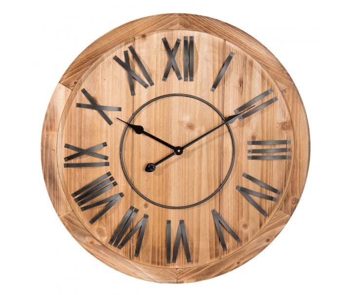 Dřevěné hodiny s kovovými číslicemi - Ø 70*5 cm