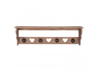Dřevěná polička s háčky - 66*11*20 cm