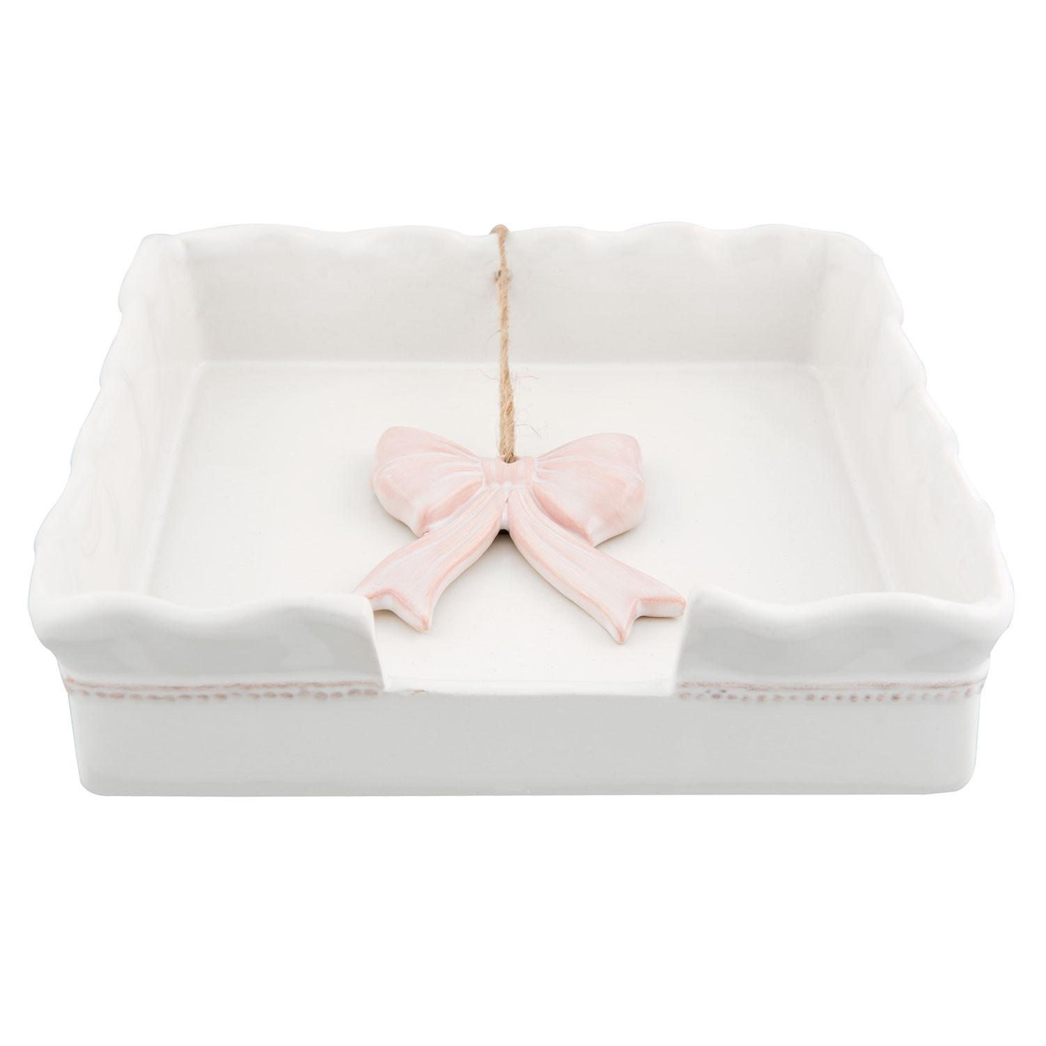 Levně Držák na ubrousky Pink Bow Knot - 17*17*4 cm