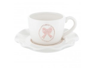 Hrneček s podšálkem Pink Bow Knot - Ø 14*6 cm / 0,1L