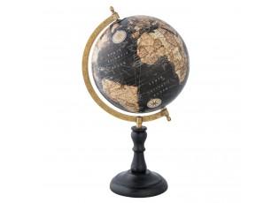 Glóbus s černou mapou na dřevěném podstavci - 22*20*39 cm