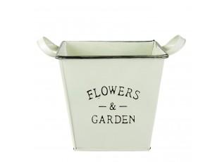 Zelený kovový kvetináč - 18*17*13 cm