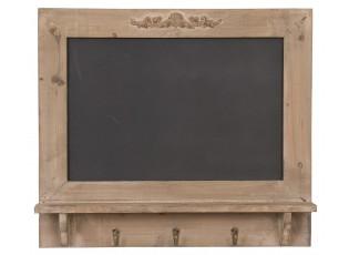 Tabulka s poličkou a háčky - hnědá patina- 55*8*48 cm