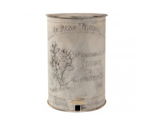 Bílý retro odpadkový koš s růží - 29*35*45 cm