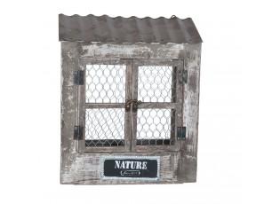 Nástěnný regál ve tvatu okna na bylinky - 28*12*33 cm