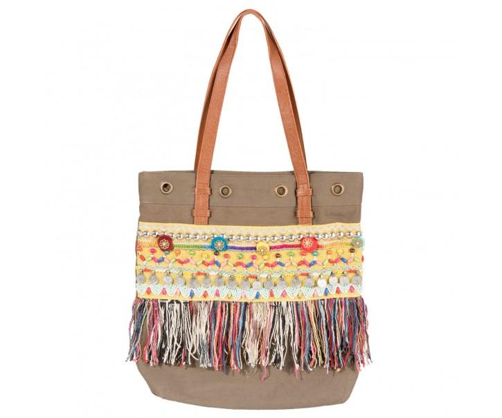 Khaki kabelka s ozdobami Pragya - 38*40 cm