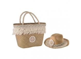 Plážový set - košík a klobouk - 45*15*48cm