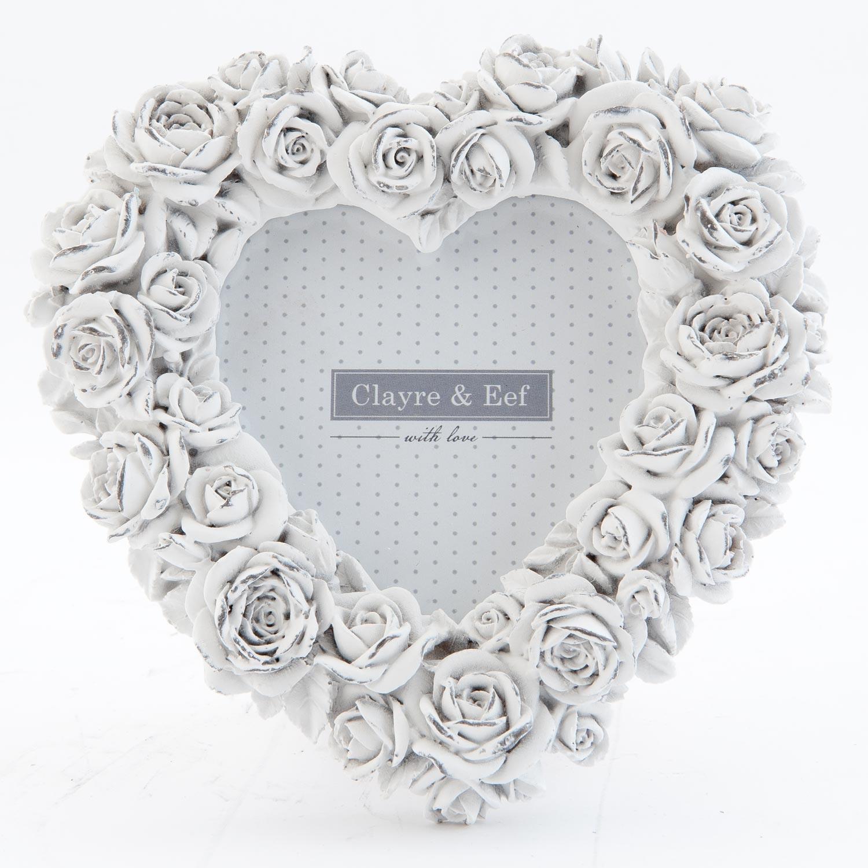 Fotorámeček srdce bílý s růžičkami - 15*2*15 cm / 9*9 cm