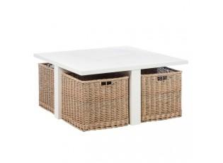 Bílý konferenční stolek s košíky - 95*95*45 cm