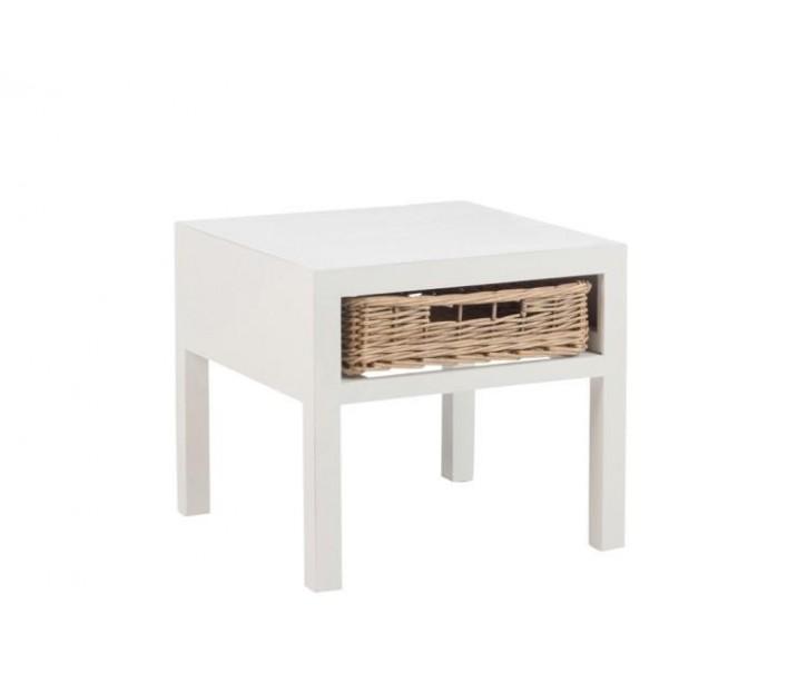 Bílý noční stolek s košíkem - 50*50*45 cm