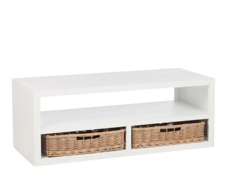 Bílý konferenční stolek s dvěma košíky - 120*50*45 cm