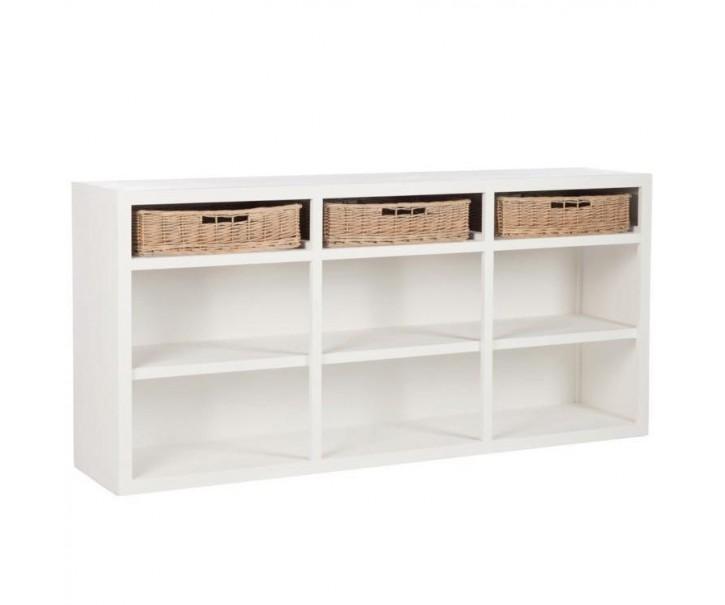 Bílá dřevěná skříňka s košíky - 180*40*85 cm
