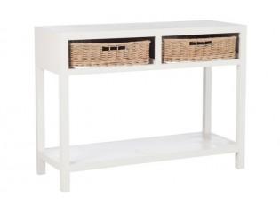 Bílý konzolový stolek s dvěma košíky - 110*45*82cm