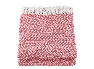 Červený bavlněný pléd s třásněmi - 150*180 cm
