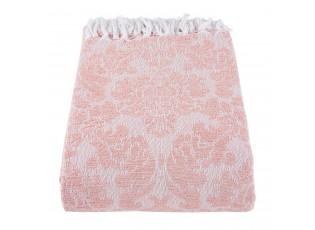 Růžový bavlněný pléd s ornamenty a třásněmi - 130*150 cm