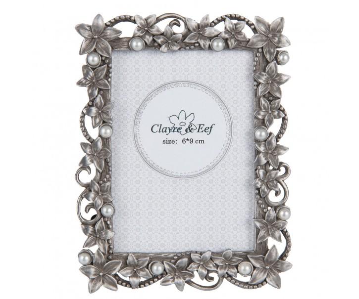 Fotorámeček stříbrný s kytičkami - 9*2*11 cm / 6*9 cm