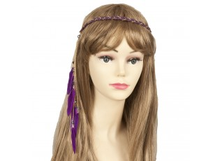 Čelenka do vlasů fialová s peříčky - 27 cm