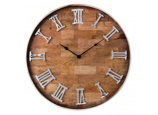 Dřevěné hodiny s římskými číslicemi - Ø 60*5 cm / 1*AA