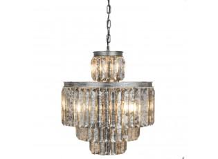 Skleněný lustr Antique silver -  Ø 52*63 cm