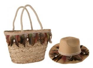 Plážový košík a klobouk Feathers BOHO - 44*20*48 cm