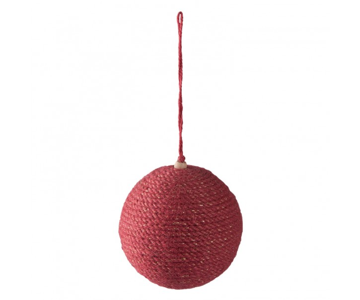 Vánoční ozdoba jutová červená koule - Ø 9*10cm - sada 4ks