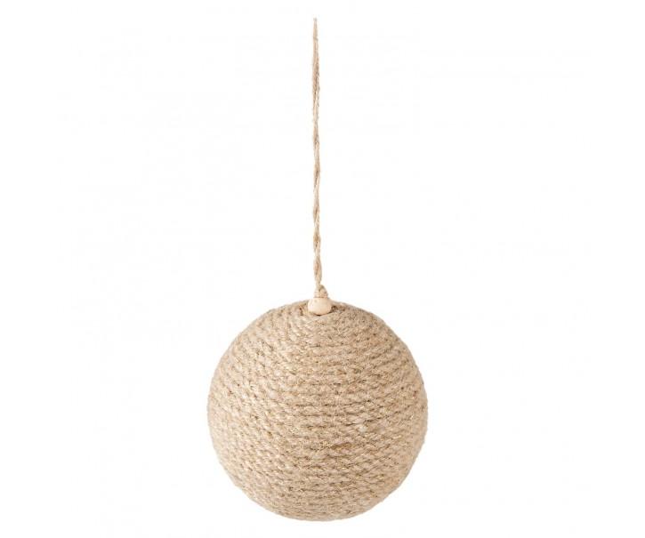 Vánoční ozdoba jutová béžová koule - Ø 9*10cm - sada 4ks