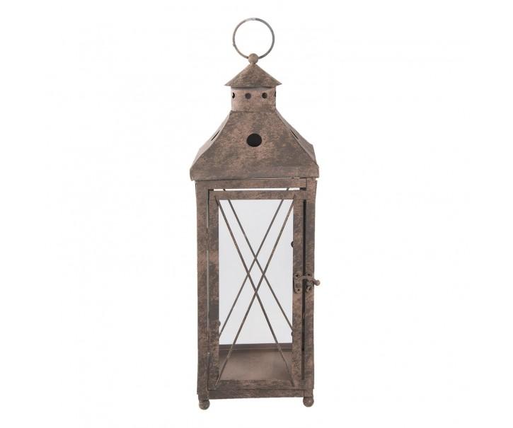 Kovová lucerna s patinou a odřením - Ø 17*47 cm