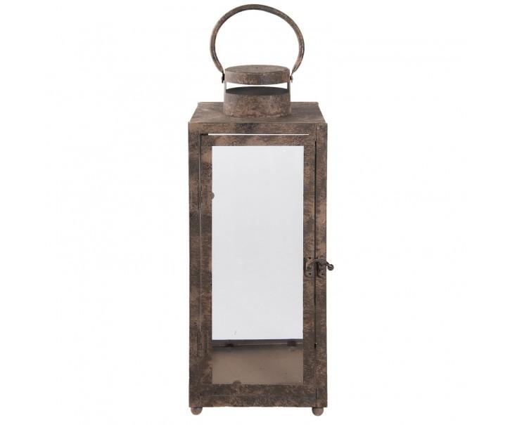 Kovová lucerna s patinou a odřením - 16*16*42 cm