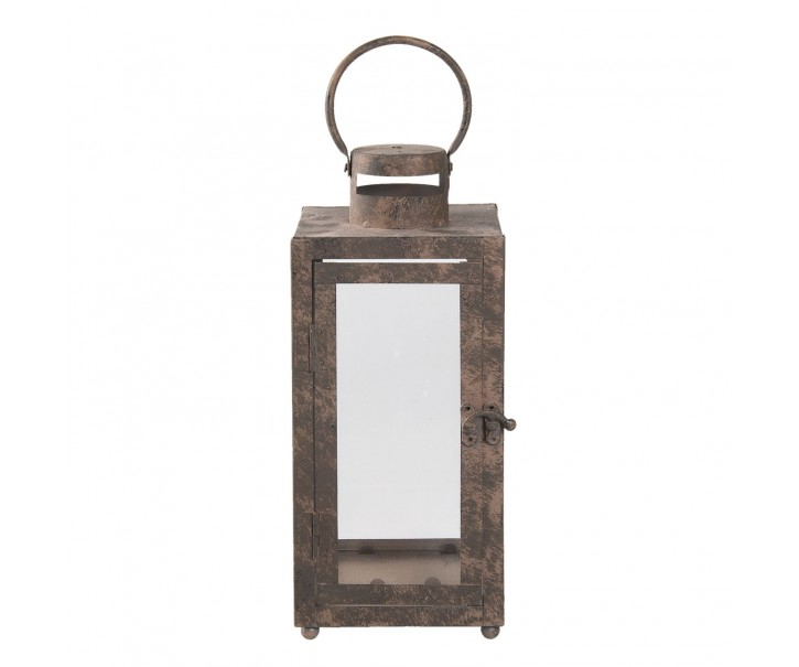 Kovová lucerna s patinou a odřením - 13*13*30 cm
