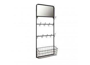 Nástěnná kovová police s háčky a zrcadlem - 44*15*112 cm