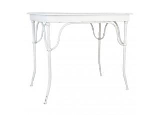 Bílý kovový jídelní stůl Didier s odřením - 96*63*81 cm