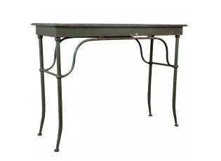 Zelený kovový jídelní stůl Didier s odřením - 110*42*81 cm