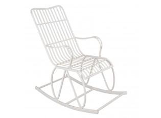 Bílé kovové houpací křeslo  Florence - 55*97*100 cm