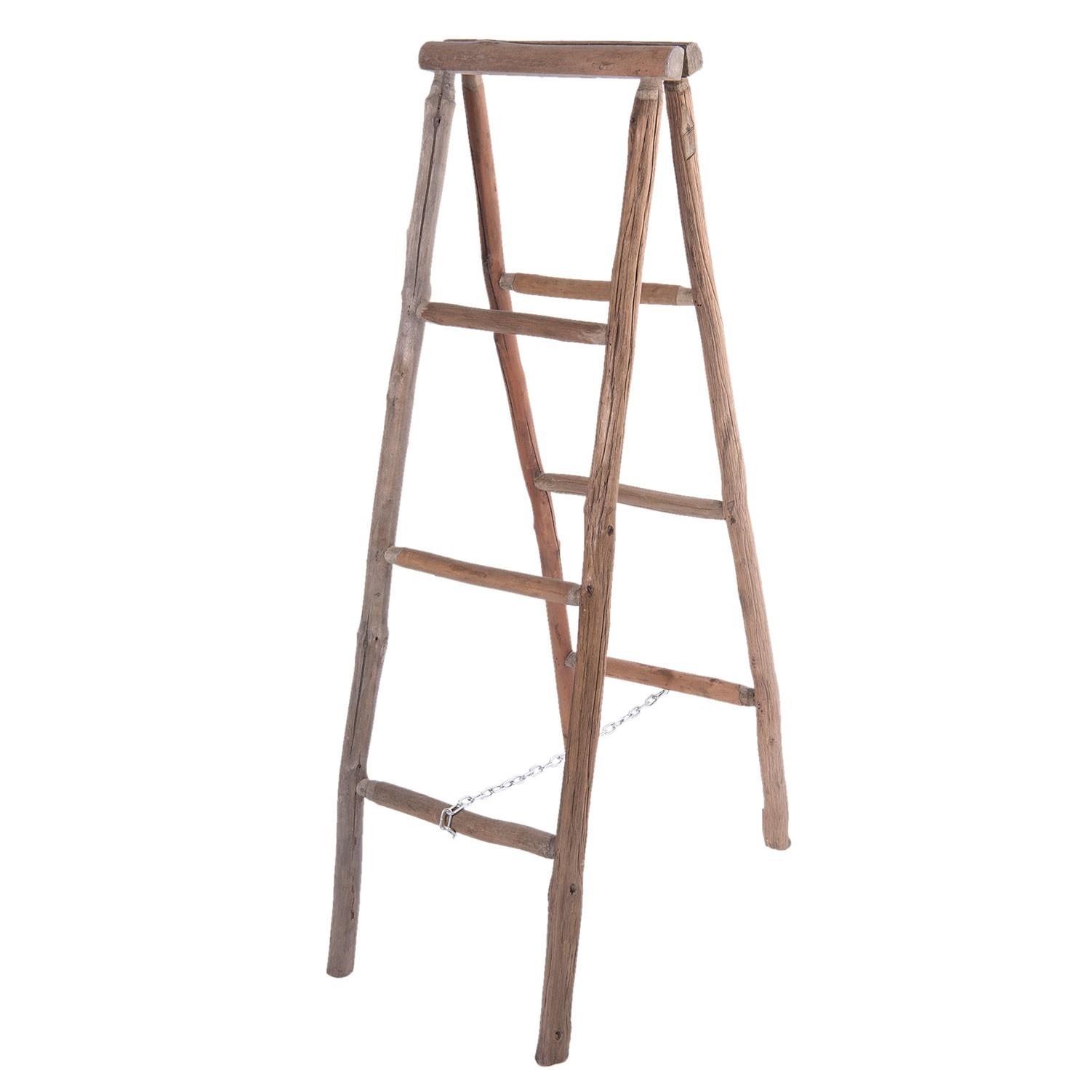 Dřevěný hnědý věšák na ručníky žebřík - 40*8*120 cm / 40*68*116 cm